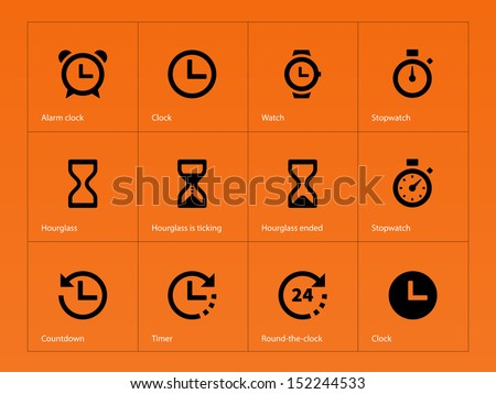 Time and Clock icons on orange background. See also vector version. - stock photo
