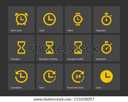 Time and Clock icons. See also vector version. - stock photo