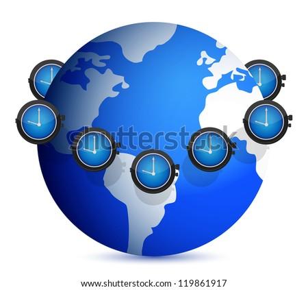 time around the globe illustration design over white - stock photo