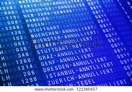 Time board in the modern airport - stock photo