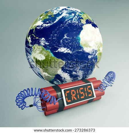 time bomb with a world globe, concept of world crisis (3d render) - Elements of this image furnished by NASA - stock photo