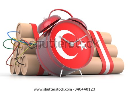 Time Bomb with Turkish Flag. 3D Rendering - stock photo