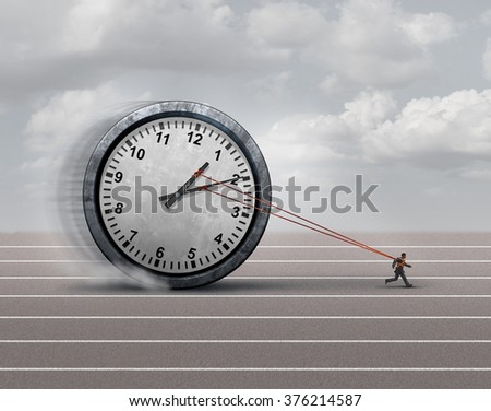 Time burden business concept as a burdened businessman or employee pulling a heavy clock as a symbol for deadline stress or schedule pressure and an icon for aging. - stock photo