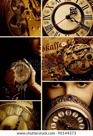 Time collage - stock photo