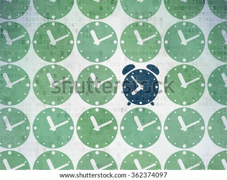 Time concept: alarm clock icon on Digital Paper background - stock photo