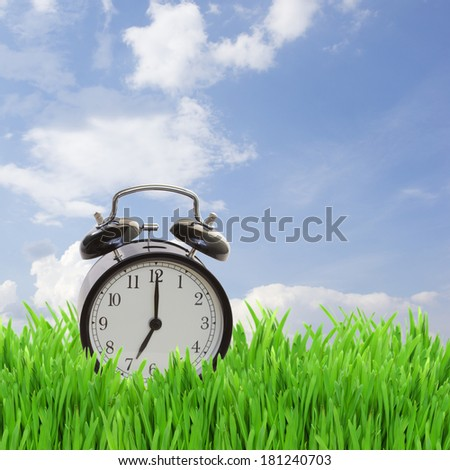 time concept - alarm clock in grass on blue sky - stock photo