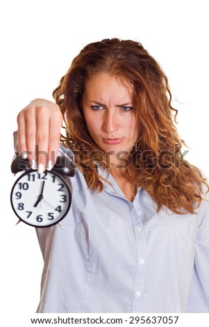 Time concept. Business woman with alarm clock, isolated on white background. - stock photo