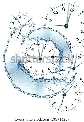 Time concept. Clock faces and abstract flowing water on white background - stock photo