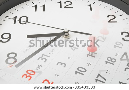 Time concept, collage with clock and calendar page with push pins - stock photo