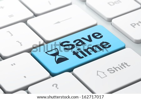 Time concept: computer keyboard with Hourglass icon and word Save Time, selected focus on enter button, 3d render - stock photo