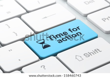 Time concept: computer keyboard with Hourglass icon and word Time for Action, selected focus on enter button, 3d render - stock photo