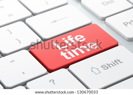 Time concept: computer keyboard with word Life Time, selected focus on enter button, 3d render - stock photo
