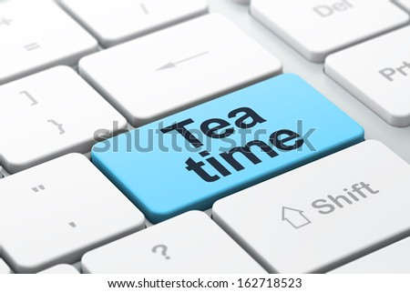 Time concept: computer keyboard with word Tea Time, selected focus on enter button background, 3d render - stock photo