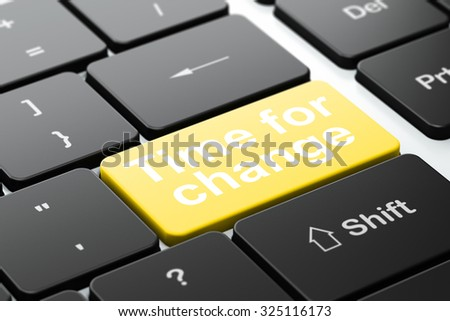 Time concept: computer keyboard with word Time For Change, selected focus on enter button background, 3d render - stock photo