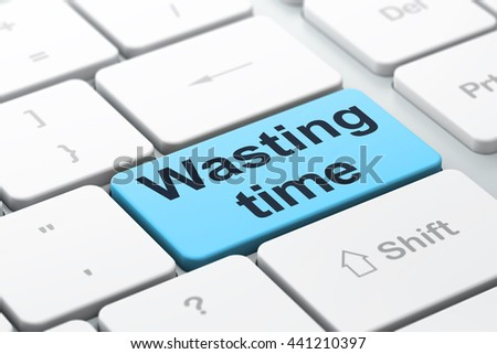 Time concept: computer keyboard with word Wasting Time, selected focus on enter button background, 3D rendering - stock photo