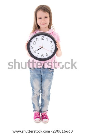 time concept - cute little girl holding office clock isolated on white background - stock photo