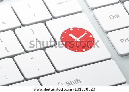 Time concept: Enter button with Clock on computer keyboard, 3d render - stock photo