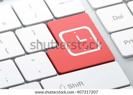 Time concept: Enter button with Watch on computer keyboard background, 3D rendering - stock photo