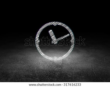 Time concept: Glowing Clock icon in grunge dark room with Dirty Floor, black background - stock photo