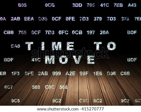 Time concept: Glowing text Time to Move in grunge dark room with Wooden Floor, black background with Hexadecimal Code - stock photo