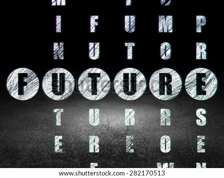 Time concept: Glowing word Future in solving Crossword Puzzle in grunge dark room with Dirty Floor, black background, 3d render - stock photo