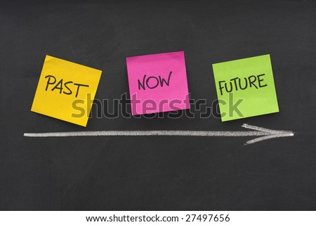 time concept - past, present, future - colorful sticky notes on blackboard with white chalk arrow and eraser smudges - stock photo