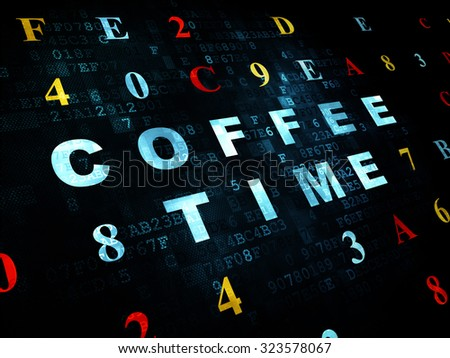 Time concept: Pixelated blue text Coffee Time on Digital wall background with Hexadecimal Code - stock photo