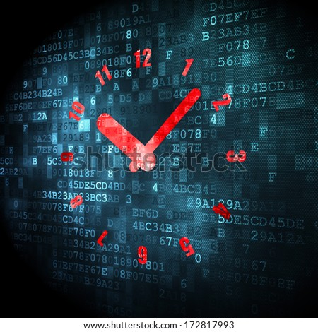 Time concept: pixelated Clock icon on digital background, 3d render - stock photo