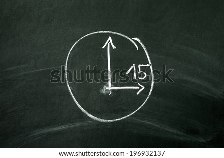 Time concept. The clock drawed on blackboard - stock photo