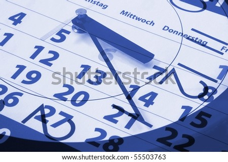 time concept with modern watch an calendar - stock photo