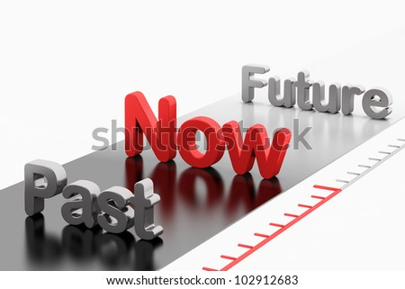 Time concept: Words Past-Now-Future isolated on white background - stock photo