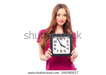 time concept. young beautiful caucasian woman holding big clock. isolated on white. - stock photo