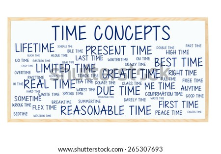 Time Concepts Blackboard: Present, Best, Limited, Last, Lifetime, Flex, Reasonable, Actual, Due, Real, pasttime, alone, bedtime, wintertime, worst, idle, good, spring, overtime, crazy, peace, donate - stock photo