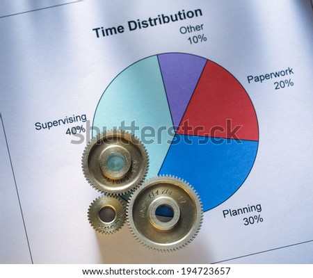Time distribution diagram with mechanical wrench - stock photo