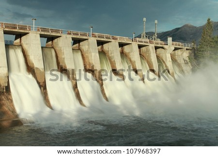 Time exposure of the spillway overflow on the Kananaskis Dam, Alberta, Canada - stock photo