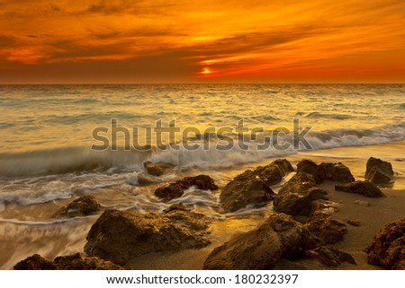 time exposure of waves at venice beach, florida - stock photo