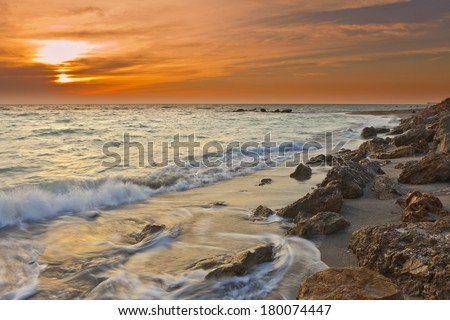 time exposure of waves at venice beach on gulf of mexico - stock photo