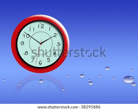 Time for a blue background with water drops - stock photo