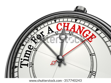 Time for a change red word on concept clock, isolated on white background - stock photo