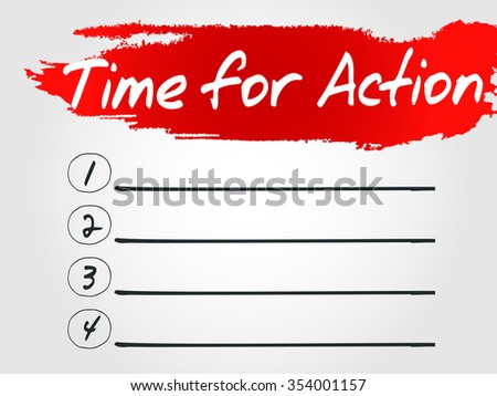 Time for Action Blank List concept background - stock photo
