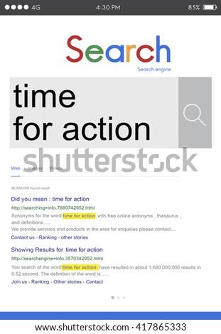 Time for Action Encouragement Motivation Progress Success Concept - stock photo