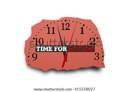 TIME FOR ACTION message written under torn paper. - stock photo