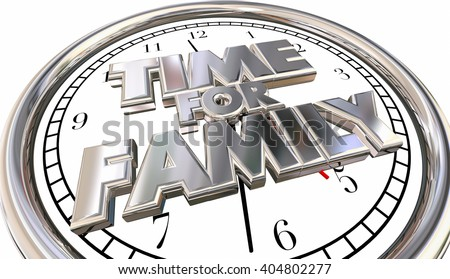 Time for Family Clock Children Parenting Fun Quality Spending Moments - stock photo