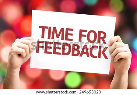 Time for Feedback card with colorful background with defocused lights - stock photo