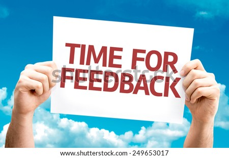 Time for Feedback card with sky background - stock photo