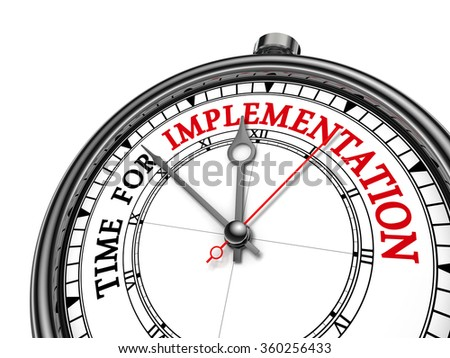 Time for implementation motivation message on concept clock, isolated on white background - stock photo