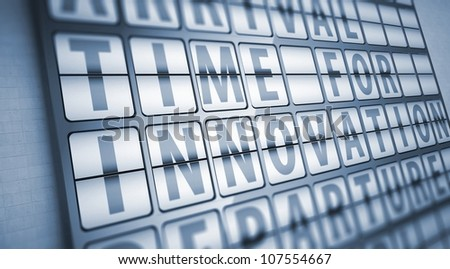 Time for innovation information on display board, business concept - stock photo