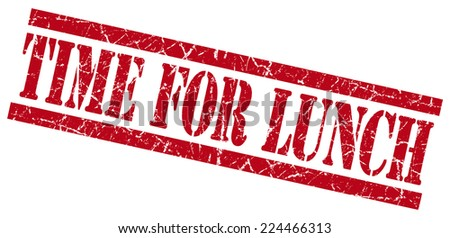 time for lunch red square grunge textured isolated stamp - stock photo