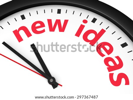 Time for new ideas concept with red word and sign printed on a clock face. - stock photo