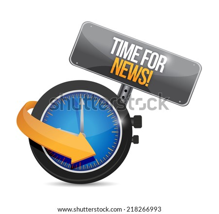 time for news. illustration design over a white background - stock photo